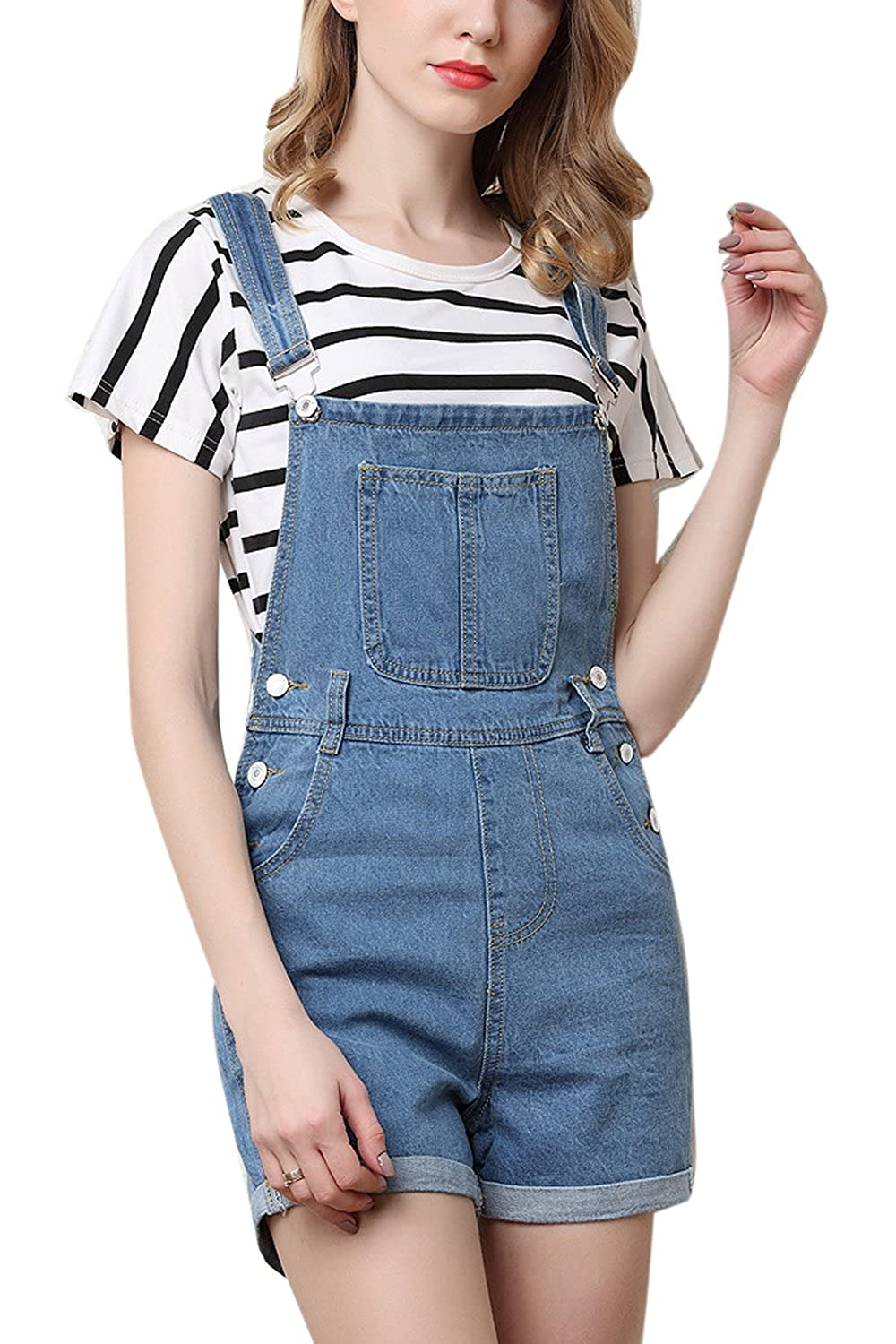 Suvotimo Women Summer Casual Denim Overall Shorts Rompers Plus Size CAMEG1302