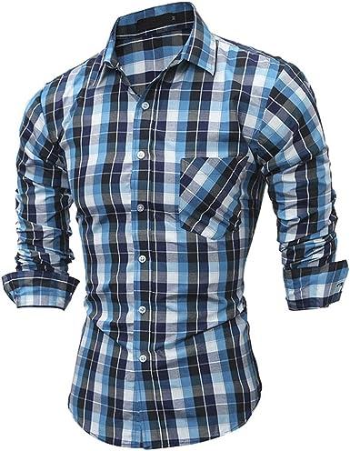Usopu Camisa de Manga Larga Cuadrada Color Block Casual de ...