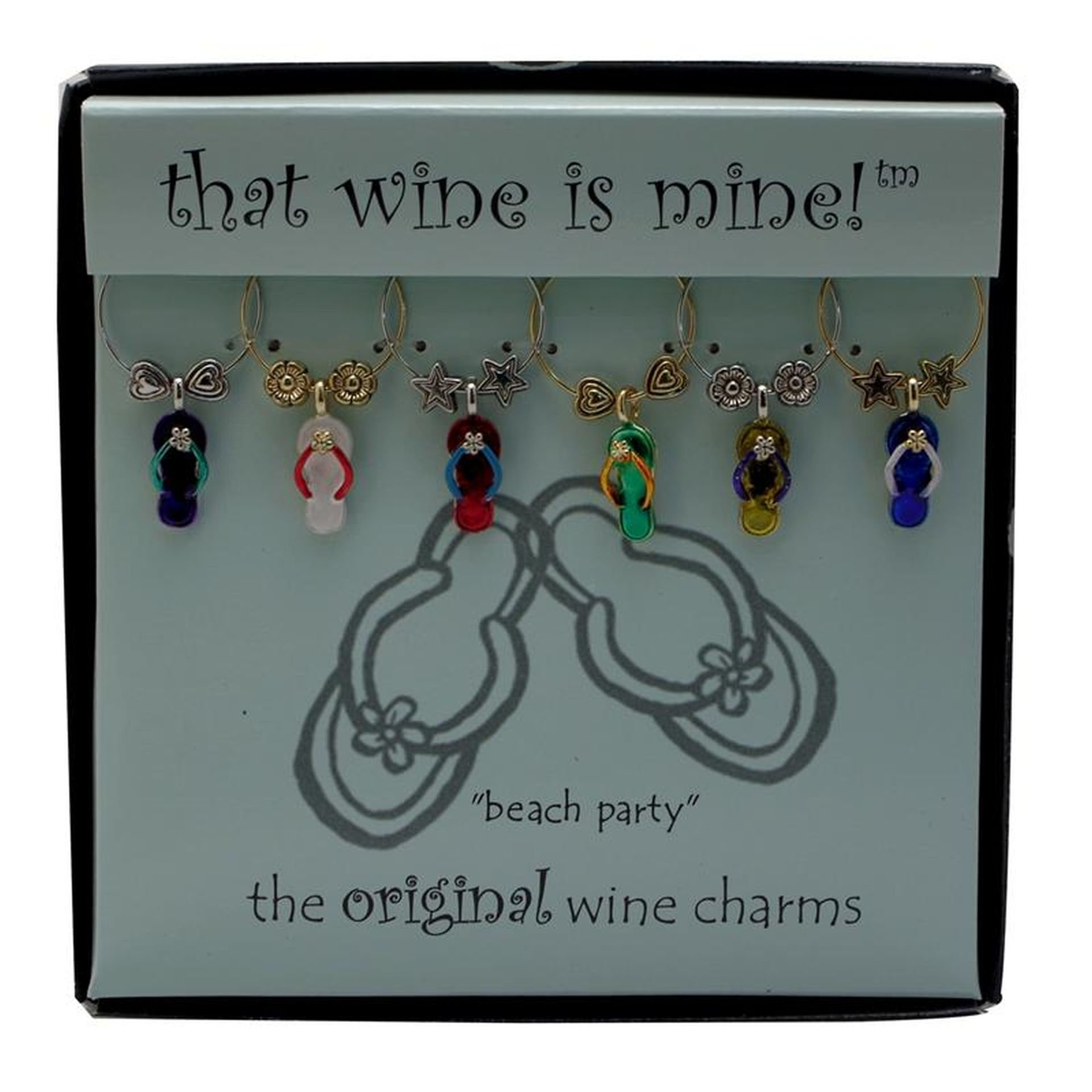 Wine Things WT-1464P Beach Party, Painted Wine Charms, Fits neatly around stem, Multi-Color