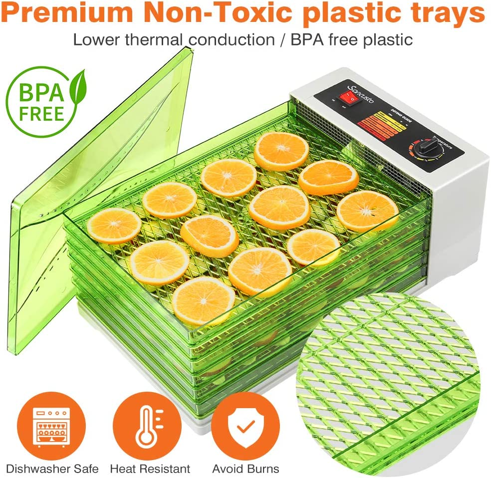 avec 6 Plateaux 18L Vert Sancusto D/éshydrateur Alimentaire Sans BPA Temp/érature R/églable de 30 /° C /à 70 /° C D/éshydrateur /Électrique,D/éshydrateur De Fruits Arr/êt Automatique