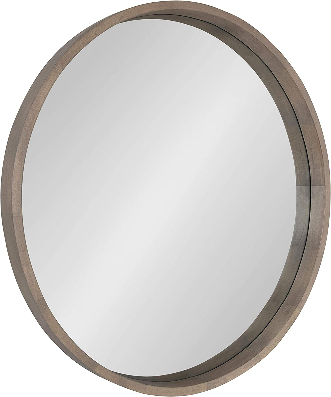 Kate and Laurel Hutton Round Decorative Wood Frame Wall Mirror, 30 Inch Diameter, Graywash