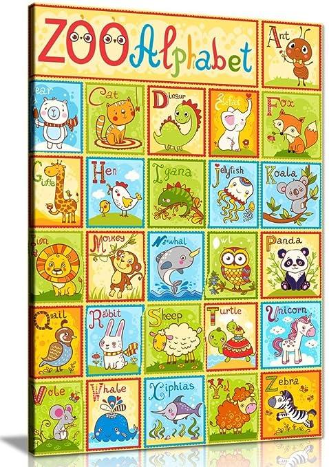 Alphabet Animals Kids Childrens Nursery Canvas Wall Art Picture ...
