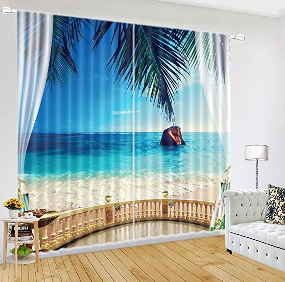 LB Teen Kids Tropical Beach Decor Room Darkening Blackout Window Curtains for Living Room Bedroom, Sea View Beach House 3D Window Drapes 2 Panels,42 x 84 Inches