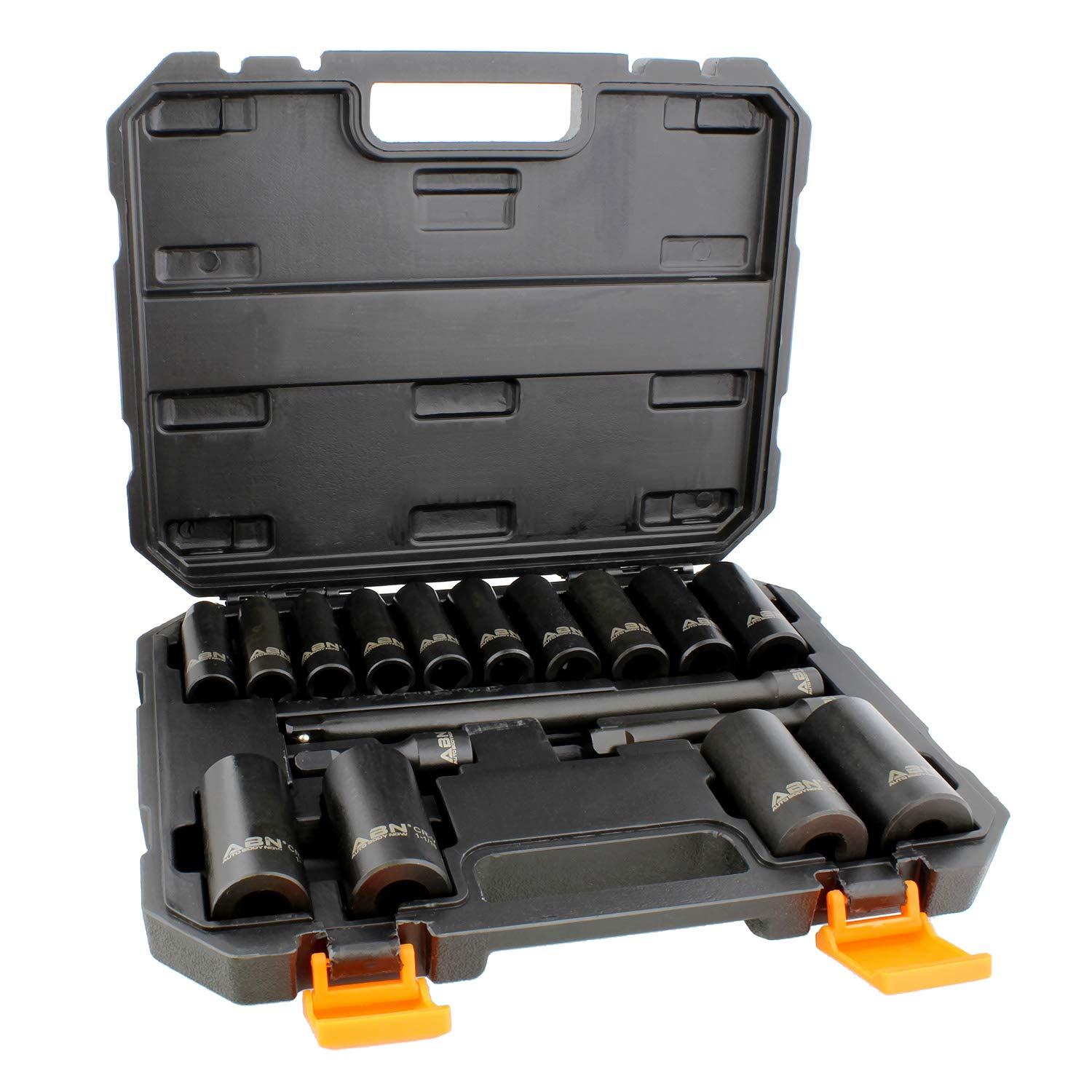 ABN Impact Socket Set - 17 Piece 1/2 Inch Deep Impact Driver Sockets and Extension Bars, 6 Point SAE Socket Set by ABN
