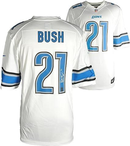 Reggie Bush Autographed Detroit Lions Replica Jersey - Mounted ...