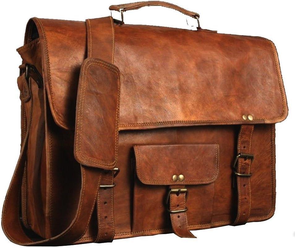 ANUENT Cartera de cuero vintage Messenger de cuero suave Satchel Laptop con diario gratis (15 PULGADAS)