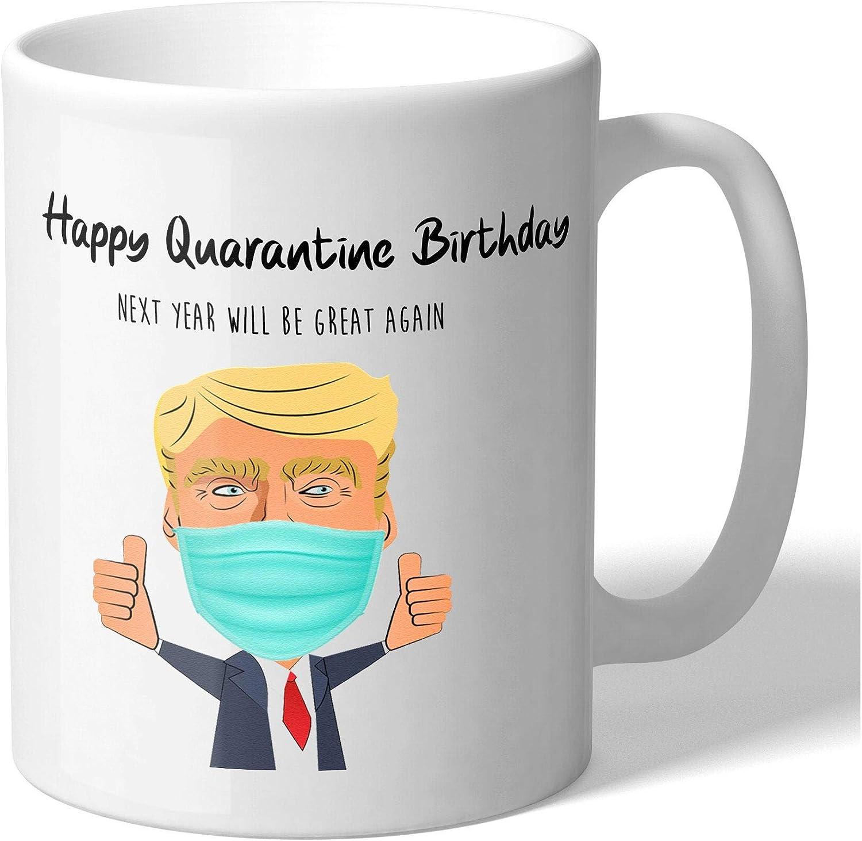 Amazon Com Henpecs Happy Quarantine Birthday Funny Trump Face Mask Mug Quarantined Gifts Quarantined Birthday Mug 11 Oz Kitchen Dining