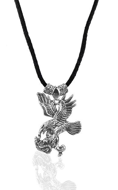 Mens Antique Look Silver Eagle Pendant Necklace
