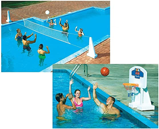 Swimline Pool Volleyball and Pool Basketball Game Combo