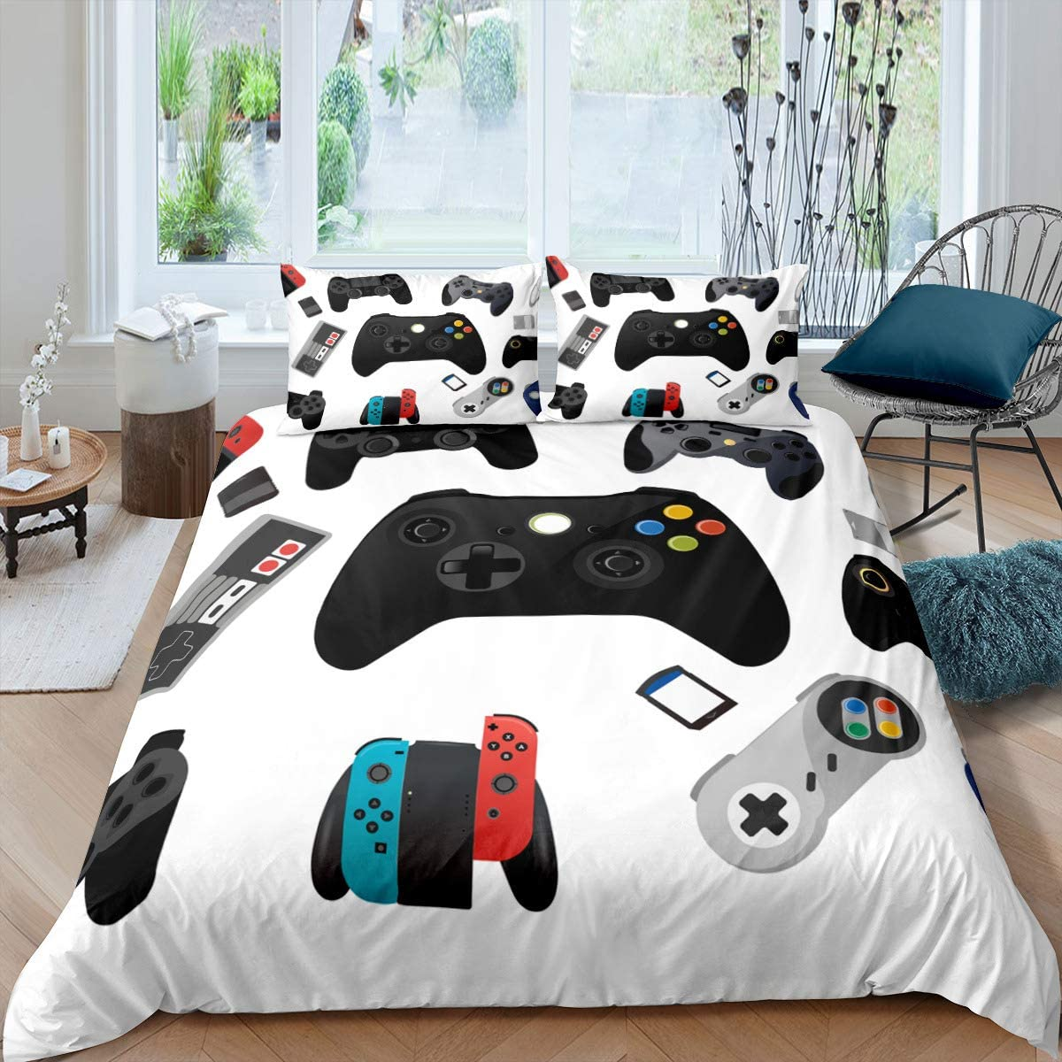 Gamer Video Game Bed Sheet Set Duvet Gamepad Game Cover for Kids Boys Girls Teens Novelty Modern Game Controller Ultra Microfiber Bedding Set Decor 3 Pcs (1 Duvet Cover + 2 Pillowcases) King 104x90