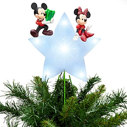 disney store mickey minnie mouse lighted christmas holidays tree topper new in box