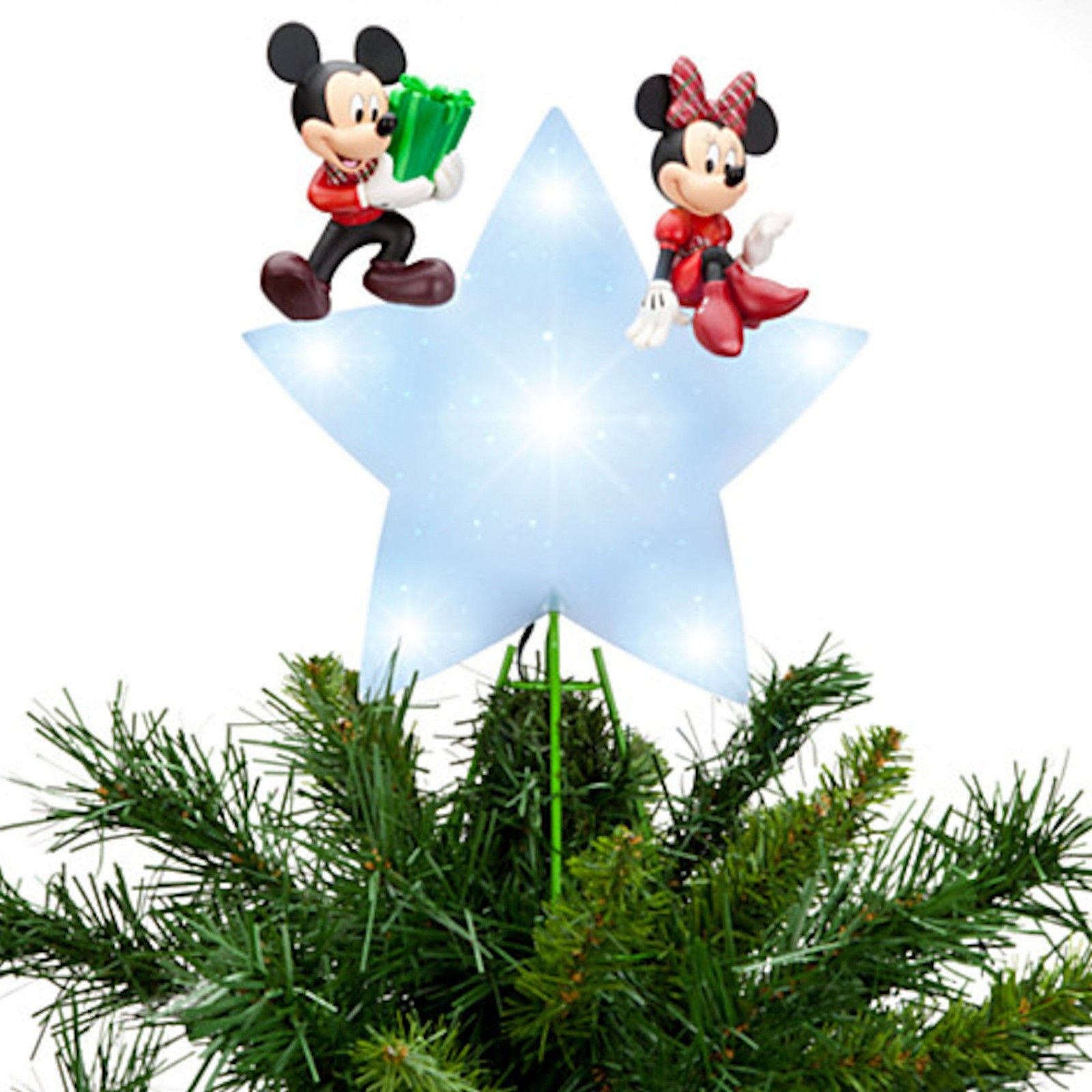 DISNEY STORE MICKEY & MINNIE MOUSE Lighted CHRISTMAS HOLIDAYS TREE TOPPER New In Box