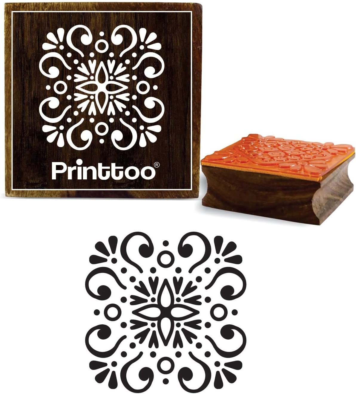 Printtoo Square Starry Christmas Tree Design Wooden Rubber Stamp Scrap-Booking-2 x 2 Inches