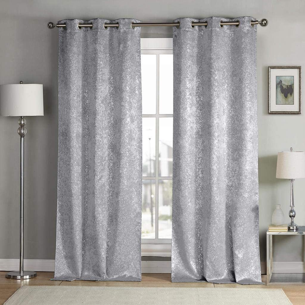 kensie Maddie Silver Metallic Textured Blackout Darkening Grommet Top Window Curtains Pair Drapes for Bedroom, Living Room-Set of 2 Panels, W38 X L84, Navy