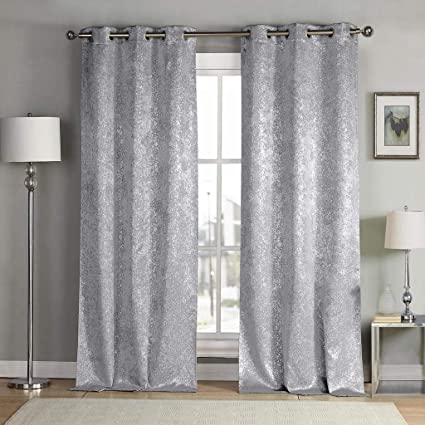 Chenille Jacquard Silver Curtains for Living Room Modern Luxury ...
