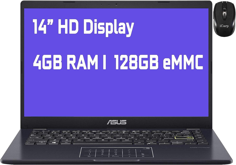 "2021 Flagship Asus Vivobook E410MA Thin and Light Laptop 14"" HD Display Intel Celeron N4020 4GB RAM 128GB eMMC Intel HD Graphics 600 Win10 (Blue)+ iCarp Wireless Mouse"