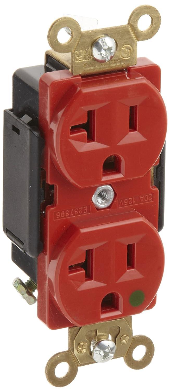Morris Products 82173 Hospital Grade Duplex Receptacle Red 20 Amp 125 Volt