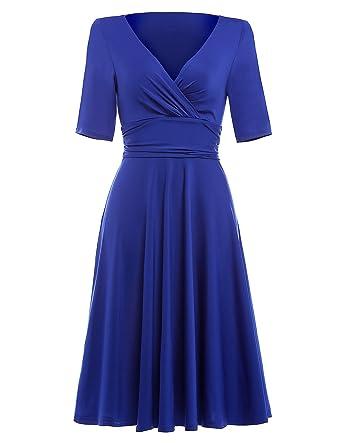 40s 50s 60s retro vintage kleid sommerkleid damen knielang blau casual kleid  festliches Kleid S BP006