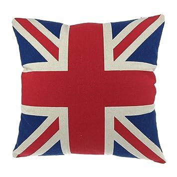 Luxbon Funda Cojines 45x45 Sofá Azul y Rojo Algodón Lino Fundas de Almohada de Bandera de UK Inglaterra para Coche Cama Hogar Decoracion