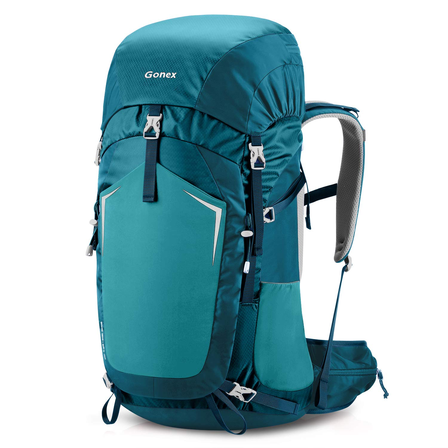 Gonex 55L Hiking Internal Frame Backpack Outdoor Backpacking Camping Trekking Climbing Backpack with Rain Cover for Men Women Blue by Gonex