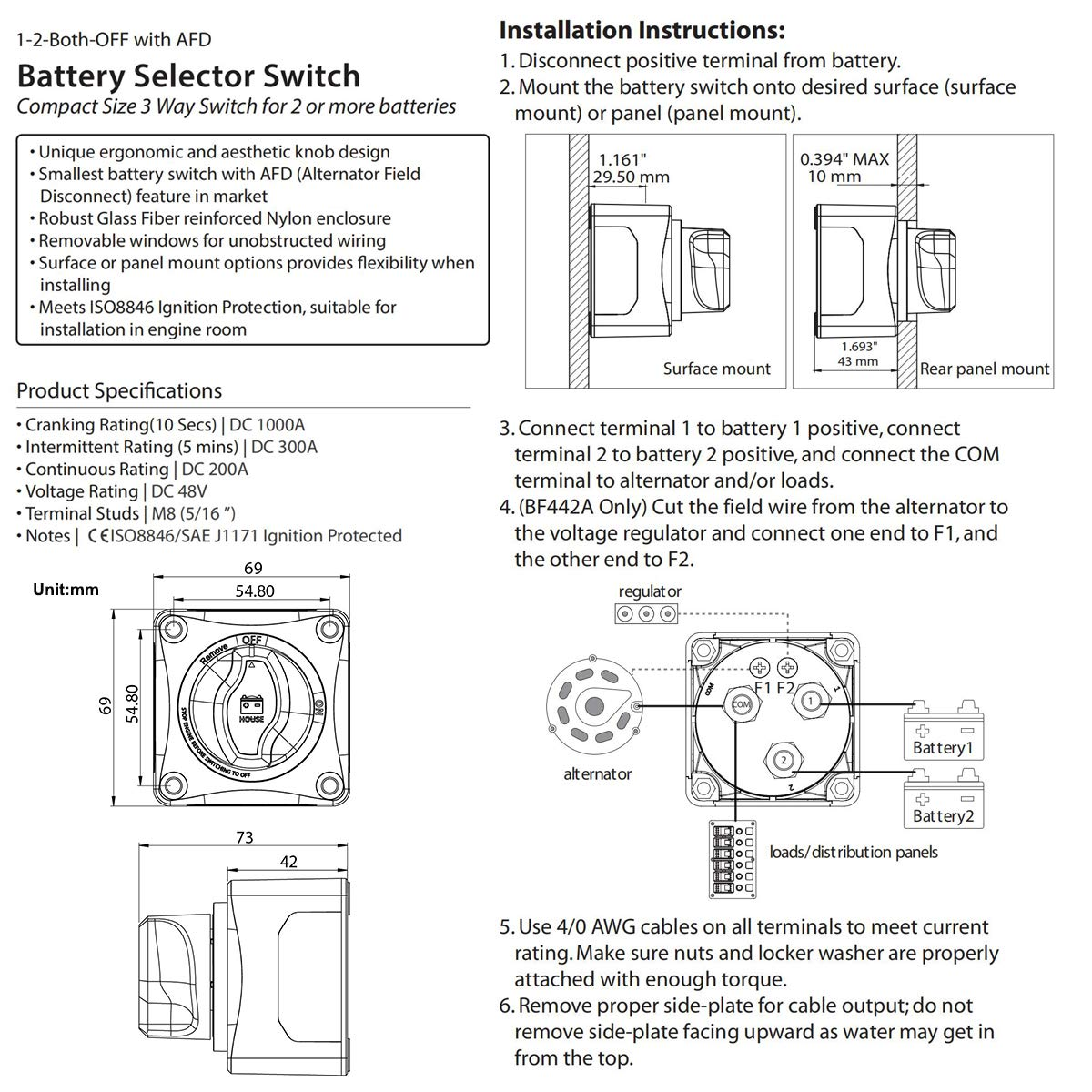 Zookoto Battery Main Switch1 2 Both Off 3 Way Switch End Of Line Selector 4 Position Dual Afalternator Field Disconnect
