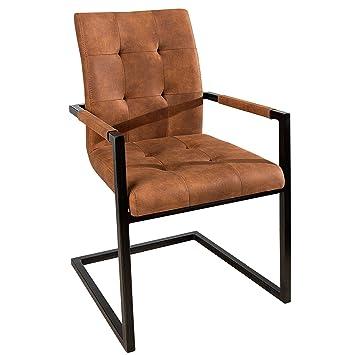 Design Freischwinger Stuhl Oxford Mit Armlehne Cognac Vintage Braun