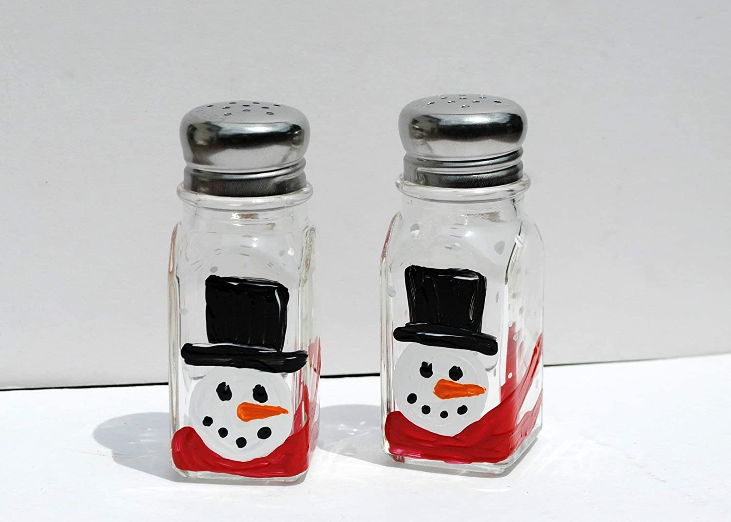 Top Hat Snowman Hand Painted Christmas Salt & Pepper Shakers Set, Holiday Kitchen Décor Holiday Kitchen Décor