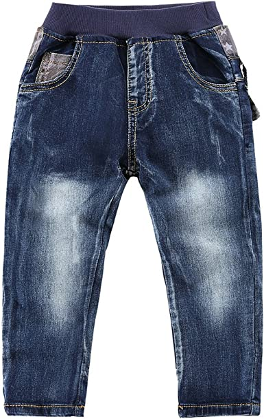 LAPLBEKE Kinder Jungen Jeans Hose Elastische Taille Jeanshose Draussen Denim Hosen Fr/ühling Herbst Winter Baumwolle