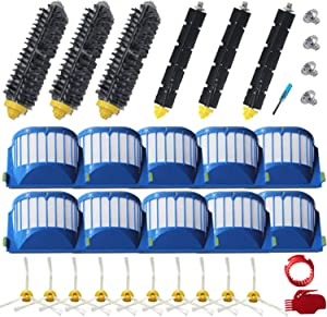 Amyehouse Replacement Parts Bristle & Flexible Brushes & Filters & Side Brush & Cleaning Tools for iRobot Roomba 600 Series 550 560 614 620 630 650 660 665 680 690 695 Vacuum Accessories