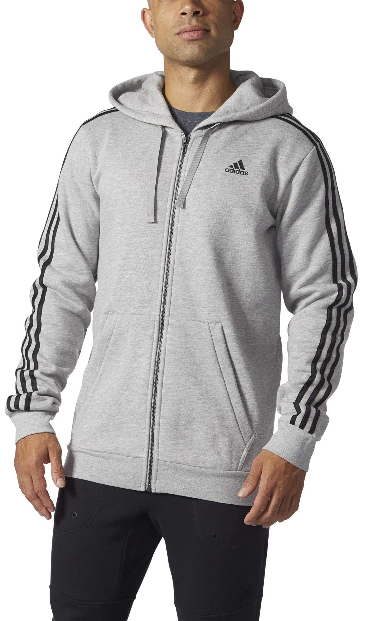 adidas Men's Athletics Essential Cotton 3 Stripe Full Zip Hoody, Medium Grey Heather/Black, 3X-Large