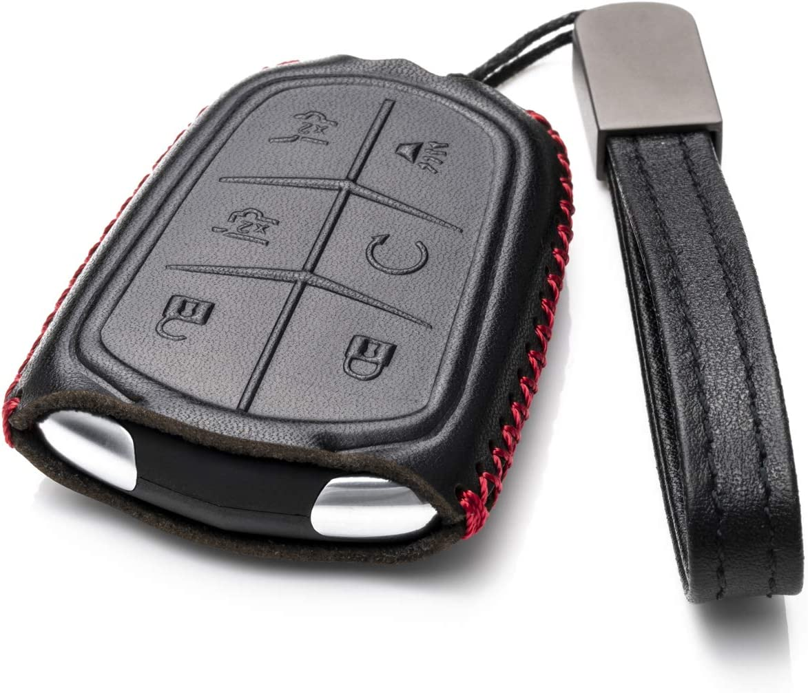 XTS CT6 CTS 5-Button, Black//Red SRX Vitodeco Genuine Leather Smart Key Fob Case with Leather Key Chain for 2015-2020 Cadillac ATS XT5
