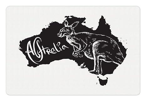 Australia Map Looks Like A Dog.Amazon Com Lunarable Australia Pet Mat For Food And Water