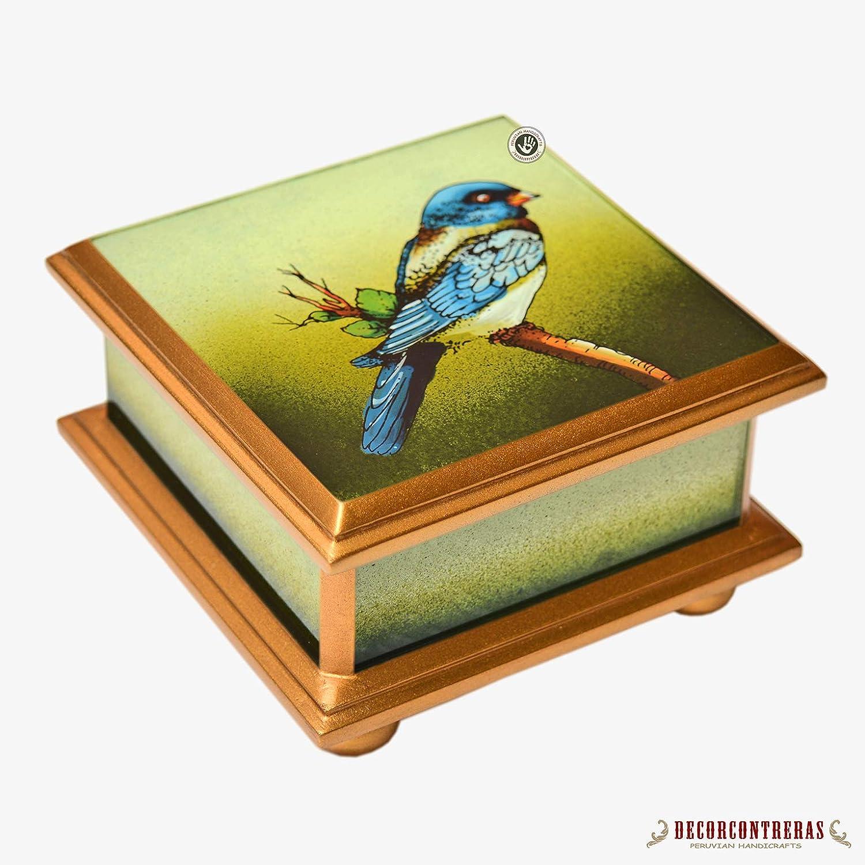 Reverse Hand painted Glass Box 3.9x3.9, Peruvian Handmade Jewelry boxes, art glass jewelry box for women, Decorative wood jewellery boxNatural Treasures