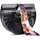 Bamboo Handbag Handmade Tote Bag Handle Straw Beach Bag for Women By Samuel