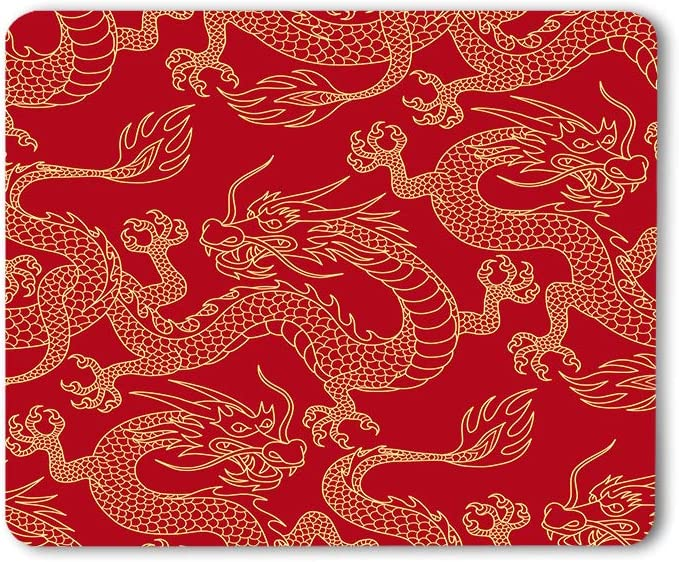 Moslion Dragon Mouse Pad Chinese Traditional Culture Tattoo Power Symbol Flying Mascot Animal Gaming Mouse Mat Non-Slip Rubber Base Thick Mousepad for Laptop Computer PC 9.5x7.9 Inch