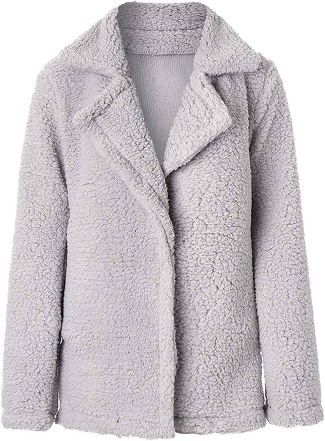 Women Cashmere Coat Thicken Warm Long-Sleeved Jacket with Pocket Cardigan Soft Winter Elegant