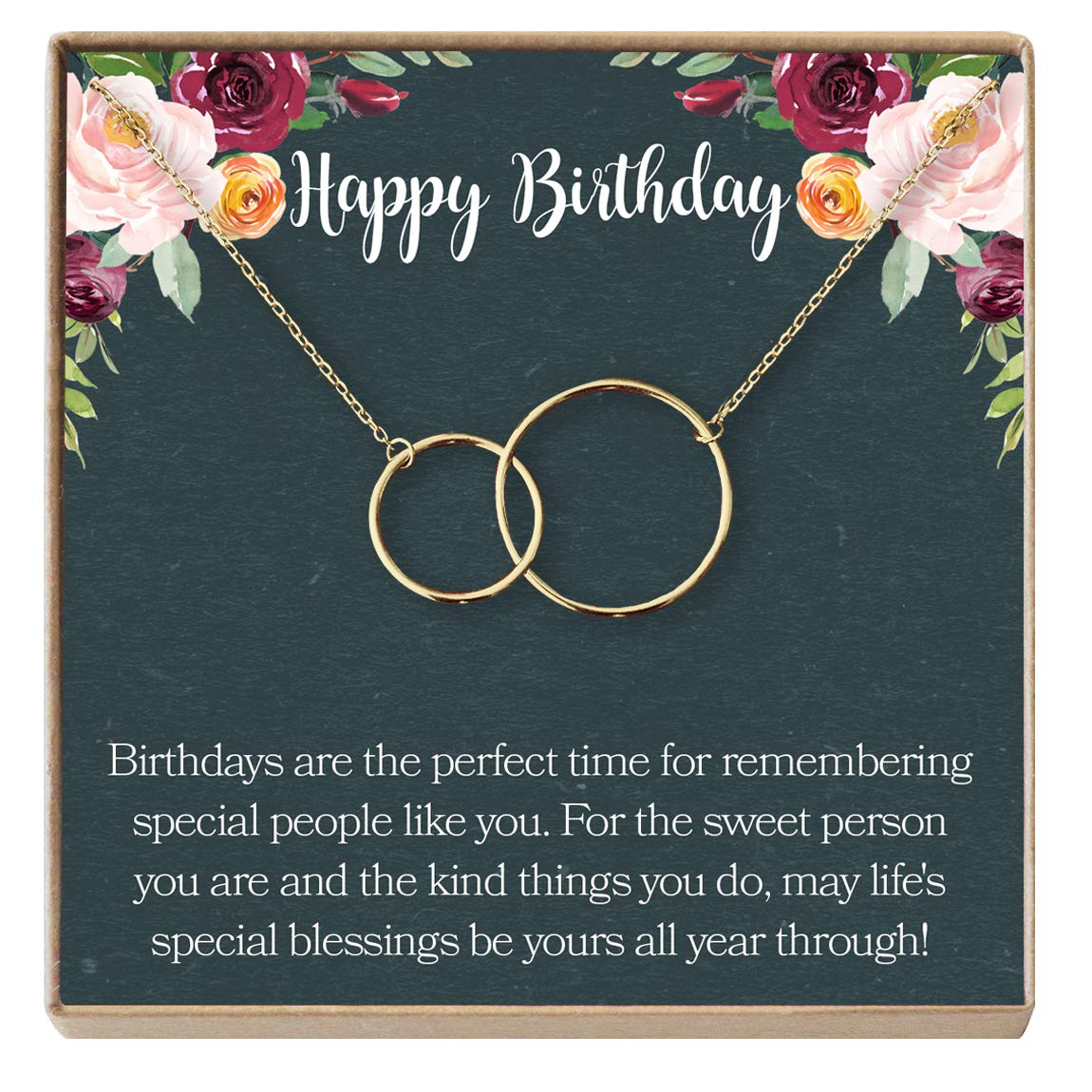 Amazon Dear Ava Birthday Gifts For Teen Girls Present Teenager Necklace Preteen 2 Interlocking Circles Gold Plated Brass