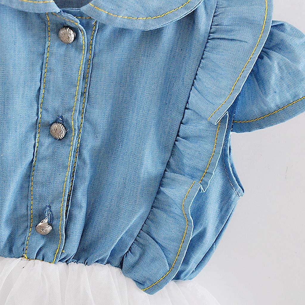 Innerternet Vestito da Principessa per neonata Bimba Eleganti Casual Estivi,abitini Corti al Ginocchio semplici Bambola Moda per 3-24 Mesi Tutu Tulle in Maglia di Jeans a Senza Manica