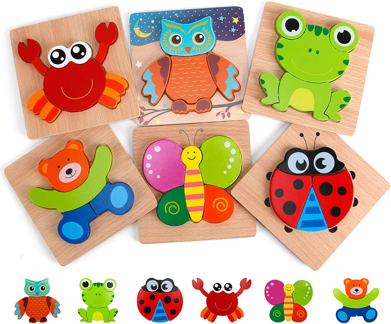Wooden Puzzles Set for Toddlers Counting Numbers Animals Shapes 2 3 4 Years