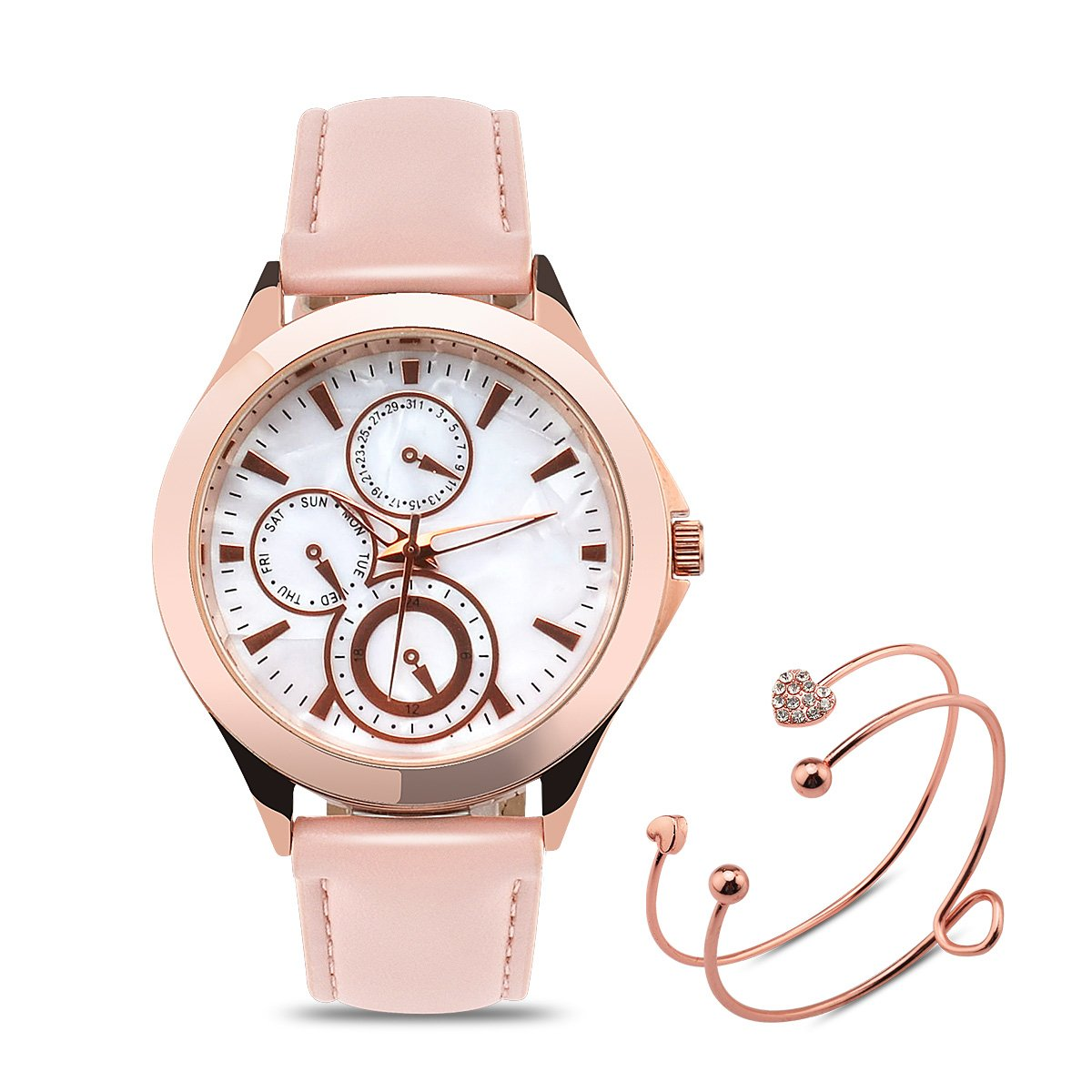 Abrray Women's Watches Mother-of-Pearl Dial with Rose Gold Case Decorative Chronograph Quartz Watch with Packing Box and Exquisite Bracelet by Abrray