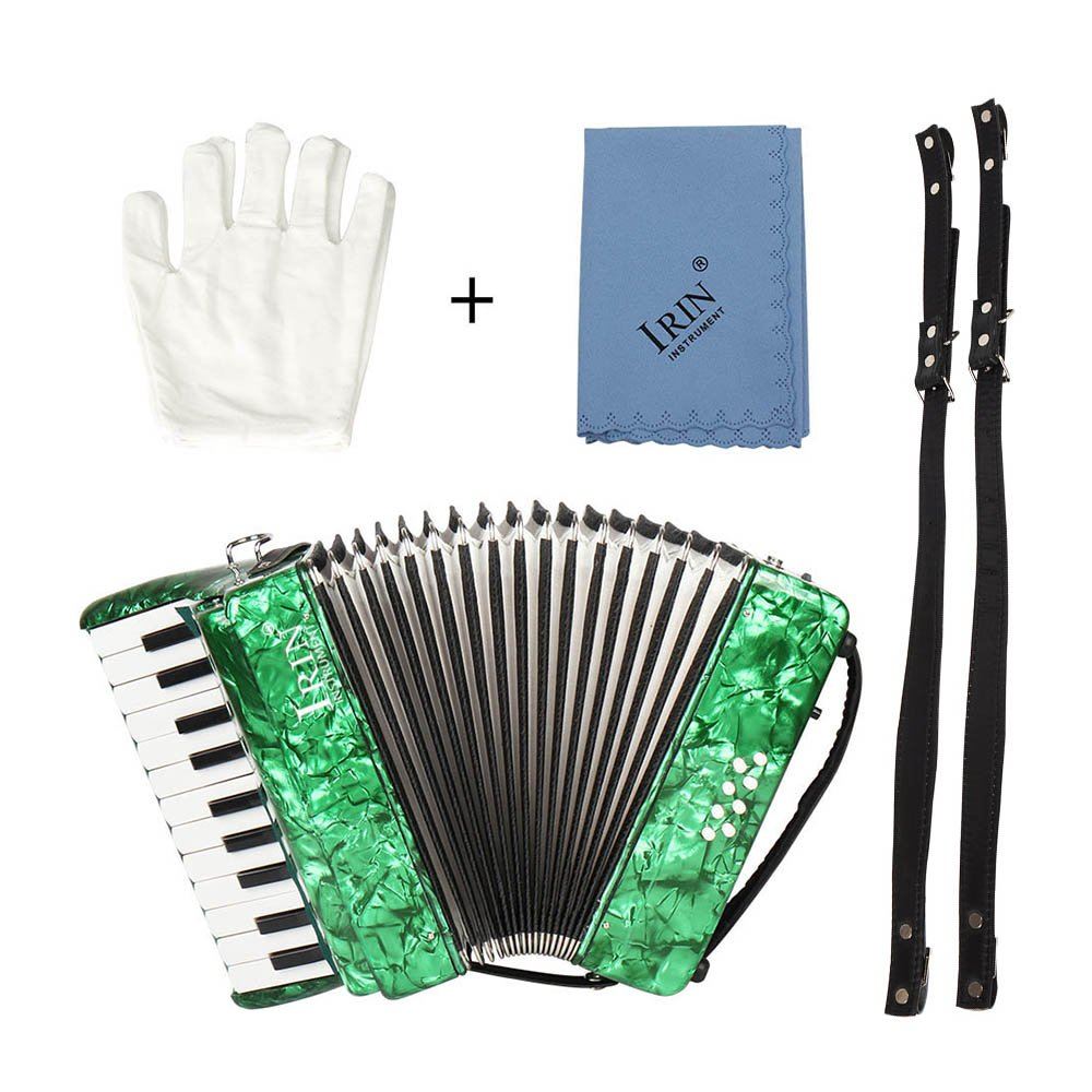 ammoon 22-Key 8 Bass Piano Accordion with Straps Gloves Cleaning Cloth Educational Music Instrument for Students Beginners Childern