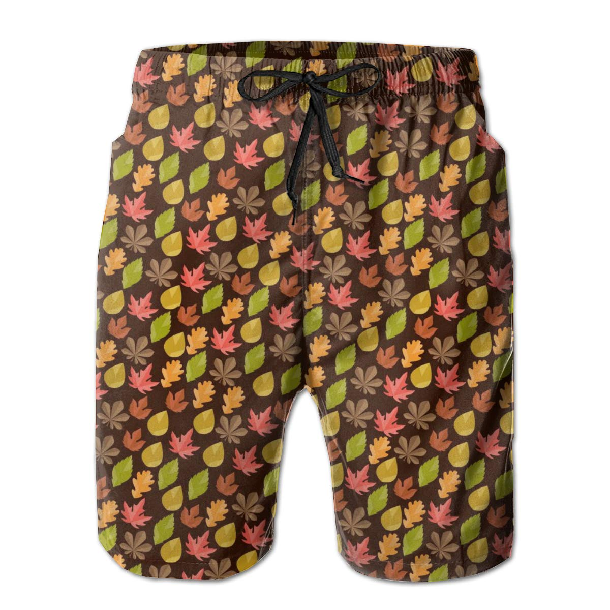 Mens Swim Trunks Quick Dry Autumn Leaves with Maple Leaf Printed Summer Beach Shorts Board Beach Short