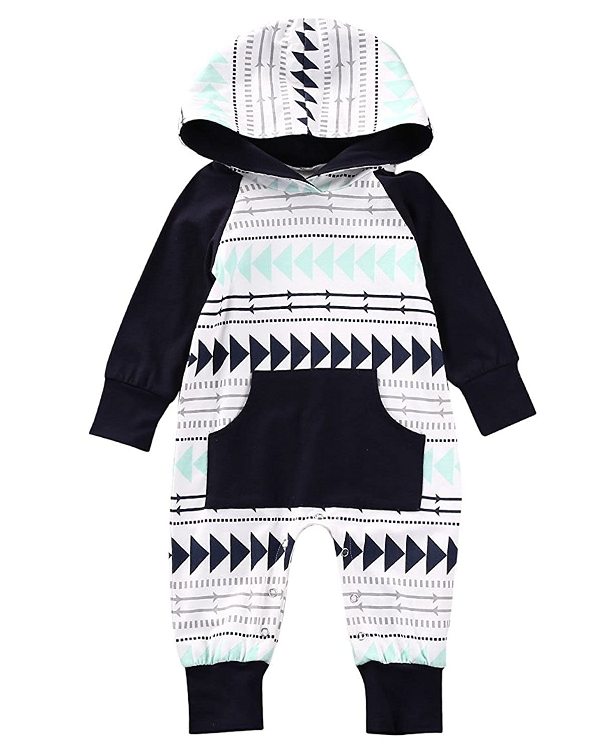 Baby Jumpsuit Newborn Boy Girl Romper Long Sleeve Creepers Clothes with Hoodie