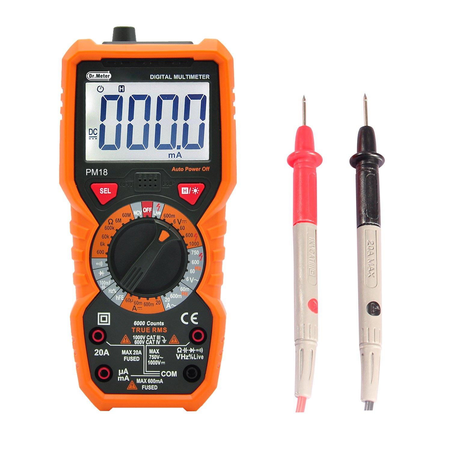 [Digital Multimeters] Dr.meter Digital Multimeter Trms 6000 Counts Tester Non-Contact Voltage Detection Multi Meter, PM18 by Dr.meter (Image #9)