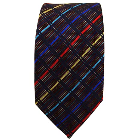 TigerTie - corbata estrecha - oro rojo azul turquesa negro rayas ...