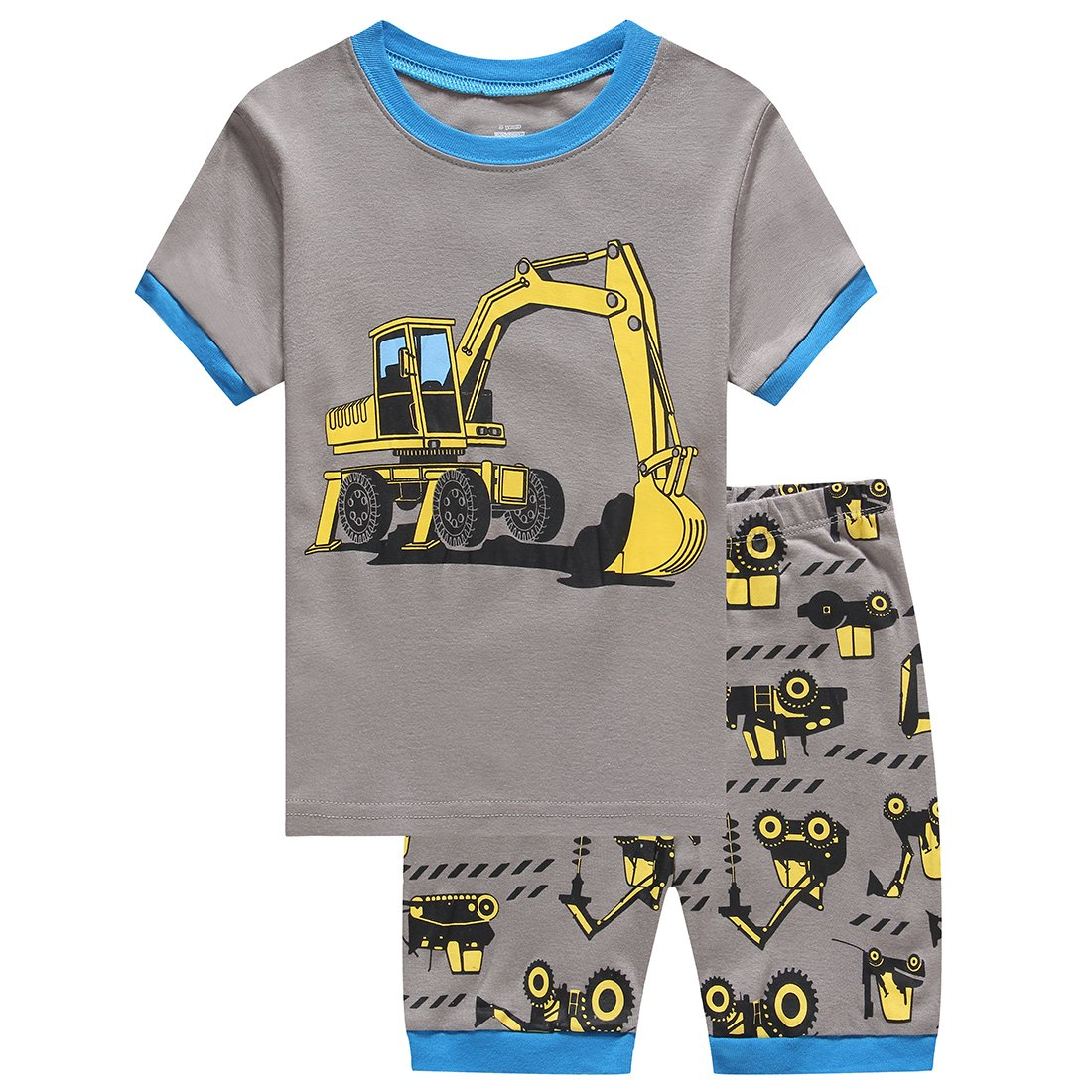 Little Boy Short Sleeve Excavator Pajamas Sets 100% Cotton Toddler Kid Sleepwear Size 7