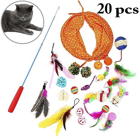 Legendog 20PCS Conjunto de Juguetes para Gatos Colorido Interactivo Felpa Gato Rompecabezas Bolas de Juguete Gato