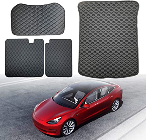 Baule Tappetino Fodera Compatibile Con Tesla Model 3,Antiscivolo Trunk Mat Floor,Resistente Inodore Appositamente Progettato Per Il Tesla Model 3 ,All-inclusive(3pieces)-2017 Back Trunk Cushion