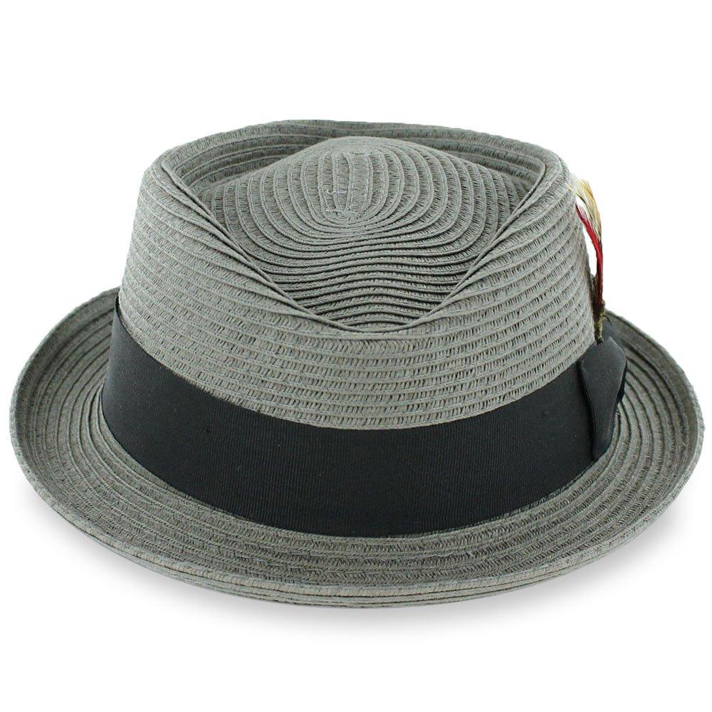 d8aa5bdea Black Tan Belfry Men/Women Summer Straw Pork Pie Trilby Fedora Hat ...