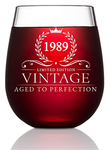 30th Birthday Gifts For Women And Men Turning 30 Years Old 15 Oz Vintage 1989 Wine Glass